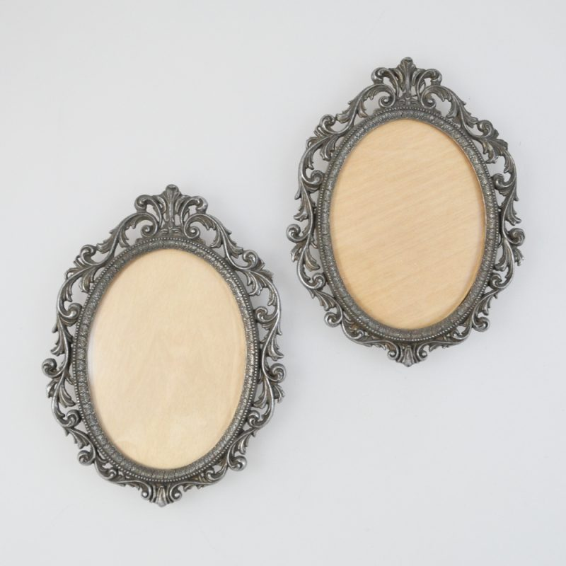 2 Bilderrahmen - oval - Barock Stil - prunkvoll - Metall - Zinn ...