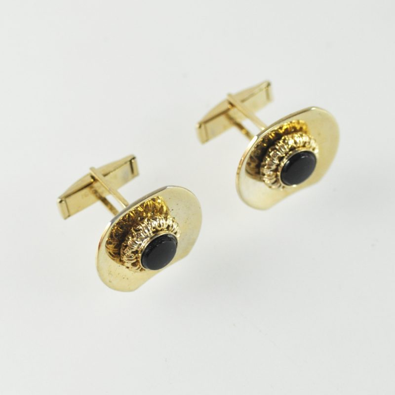 midcentury amber and gold tone cuff links. Vintage AMERIC signed